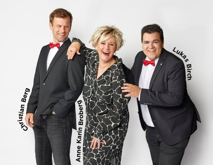 Christian Berg, Anne Karin Broberg og Lukas Birch er klar til Jægerspris Revyen 2020. PRfoto.